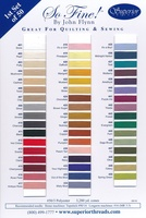 So Fine! #50 Polyester Thread  Color Card First Set Of 50 Colors