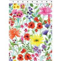 Clothworks Spring Meadow White Multi