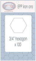 "EPP Pre-Cut Iron Ons By Hugs' N Kisses (3/4"" Hexagon x 100)"