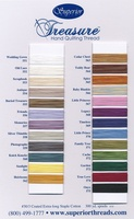Treasure Hand Quilting Cotton Thread Color Card. 25 Colors