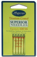 #100/16 Topstitch Superior Titanium-Coated Needle (Yellow Package)