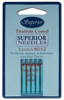#80/12 Topstitch Superior Titanium-Coated Needle (Blue Package)