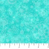 Northcott Blossom Turquoise