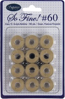 So Fine! #60 #405 Cashew Class 15 Plastic-sided Bobbins. 1 Dz.