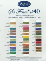 So Fine! #40 Polyester Thread Color Card