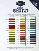 King Tut Cotton Thread Color Card. Third Set Of 36 Colors