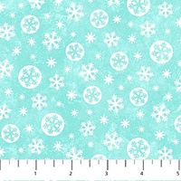 Northcott Let It Snow Flannel Turquoise
