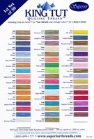 King Tut Cotton Thread Color Card. First Set Of 50 Colors
